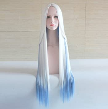 Amazon.com   Touirch Anime Long Straight White Blue Hair Women Heat  Resistant Party Cosplay Wig   Beauty 8d331a644e
