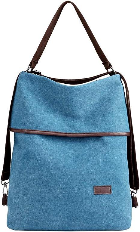 Pb Soar 3 In 1 Damen Vintage Canvas Tasche Rucksack Handtasche Schultertasche Rucksackhandtasche Tragetasche Freizeittasche Vielseitige Tasche Blau Amazon De Schuhe Handtaschen