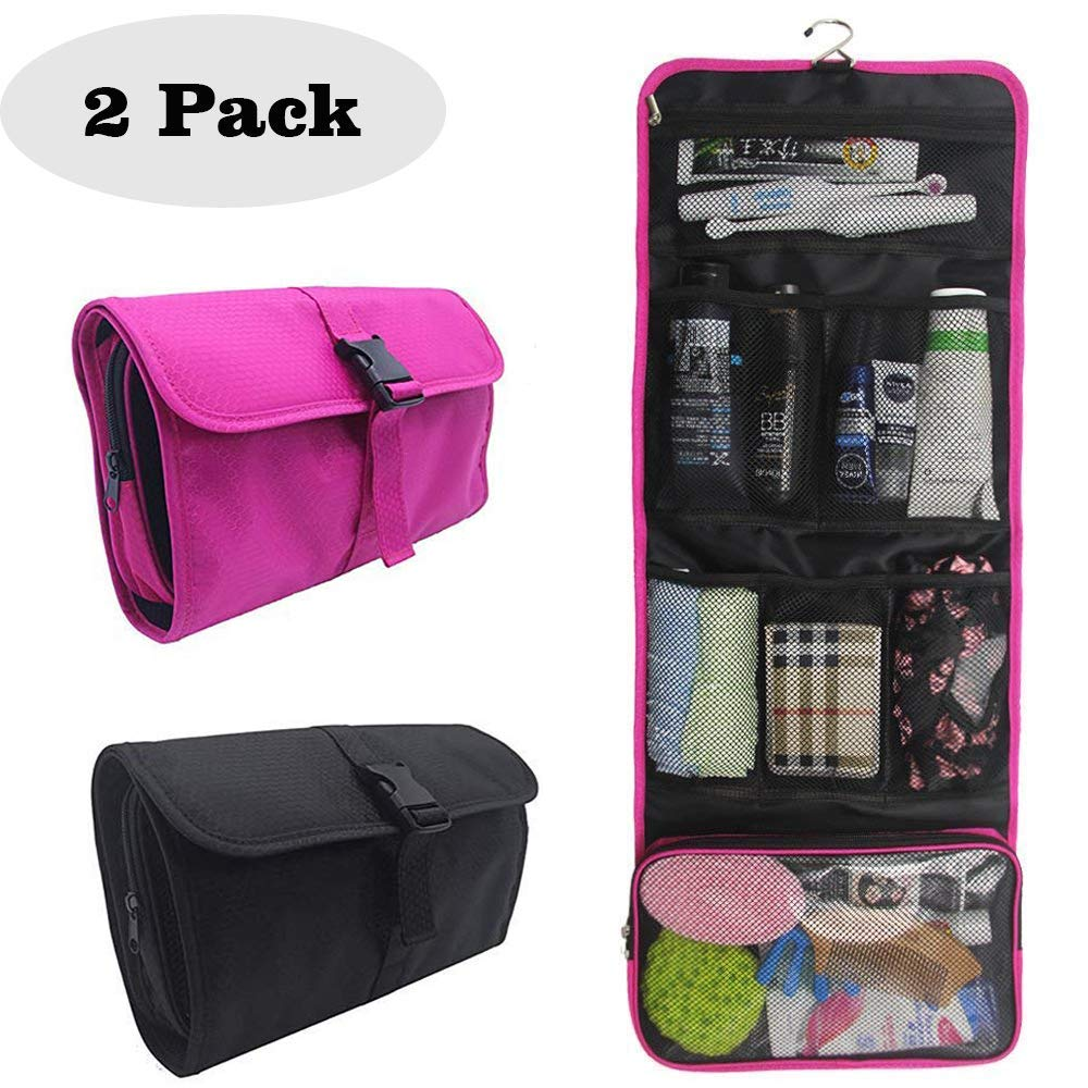 Hanging Toiletry Bag for Men and Women 2 Pack Large Capacity Travel Kit Cosmetic Makeup Storage Organizer with Metal Hanging Hook