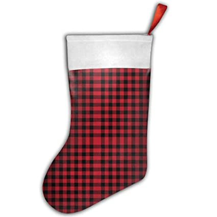 eca9v classic christmas stockings buffalo plaid black and red print fireplace decoration