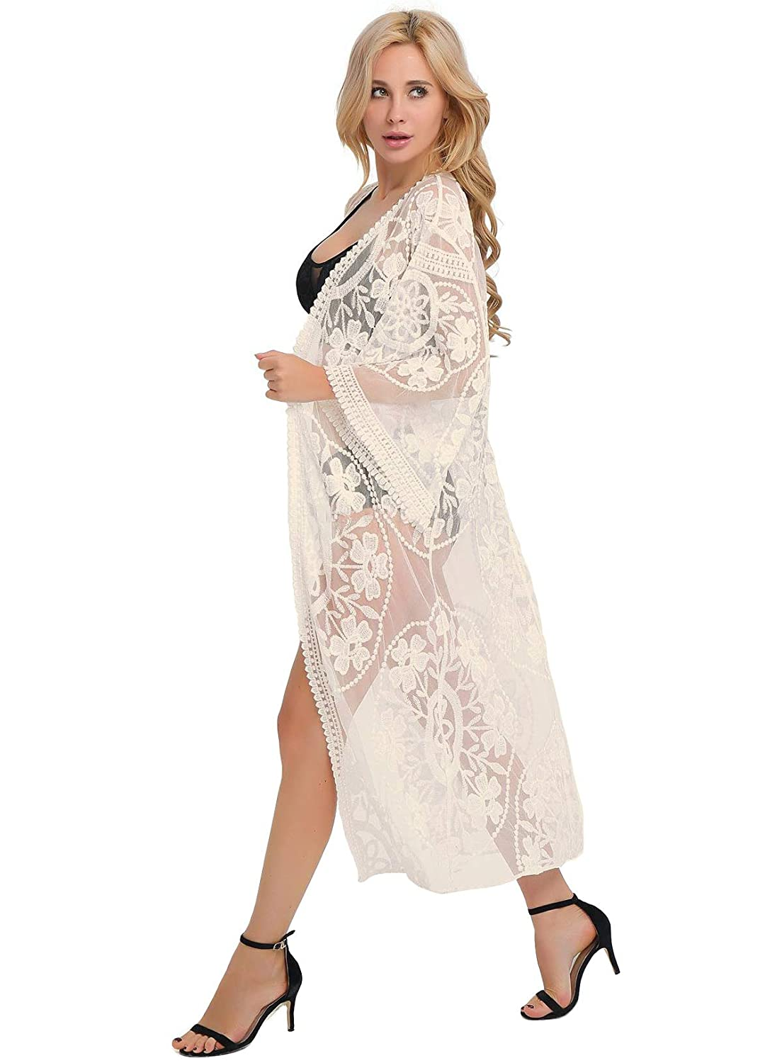 57f6cac8f9 ESPRELA Women Swimsuit Cover Up Bathing Suit Kimono Long Beach Dress Floral  Lace Bikini Swim Coverup (One Size, Beige) at Amazon Women's Clothing store:
