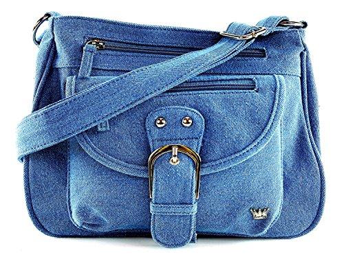 Denim Purse Blue Jean - Purse King Pistol Concealed Carry Handbag (Blue Jean)