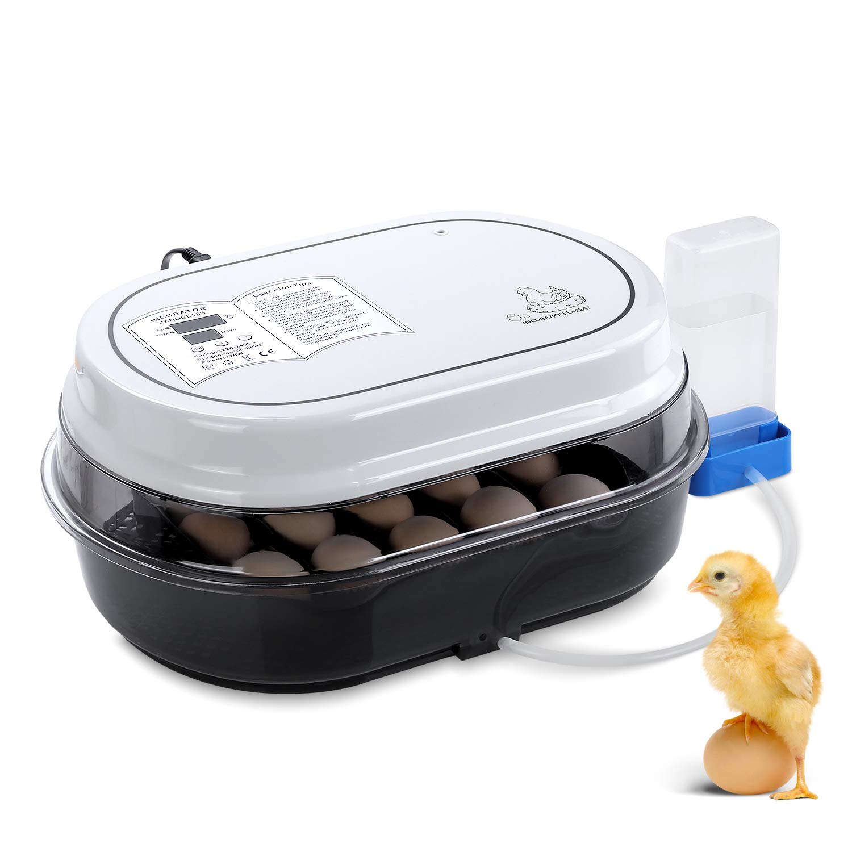 pedy Incubadora Automática, Incubadora de Pollos con Criador de Motor con Pantalla LED de Temperatura y Sensor de Temperatura Preciso, Control de Temperatura y Humedad, para hasta 18 Huevos de Gallina