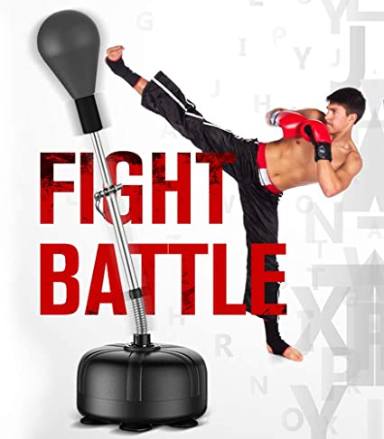 Stress Relief /& Fitness Height Adjustable Great for MMA Training Tech Tools Punching Reflex Boxing Bag with Stand Pro Freestanding Punching Ball Speed Bag