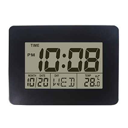 DYKIE Digital Tabletop Clock with Date Week and Temperature Display- Snooze  and Large Display- (Blue Backlight)- Battery Operated LCD Home and Travel
