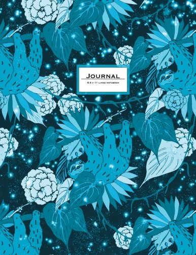 Journal - 8.5 X 11 Lined: Sloth Journal. Cute Animal Notebook.teal -