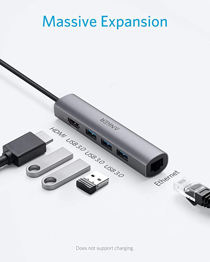 HHF USB Cables USB-C Type-C USB Hub Adapter with 2 USB 3.0 Ports//4K HD//Memory Card Reader//USB-C PD Charging Port//RJ45 Gigabit Ethernet Port