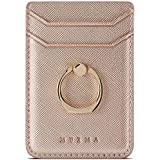 Phone Card Holder with Ring Grip for Back of Phone,Adhesive Stick-on Credit Card Wallet Pocket for iPhone,Android and Smartphones,Rosegold