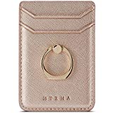 Phone Card Holder with Ring Grip for Back of Phone,Adhesive Stick-on Credit Card Wallet Pocket for iPhone,Android and...