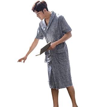 Pijama LINGZHIGAN Batas de Noche de Hombre Batas de algodón de algodón Largo (Tamaño :