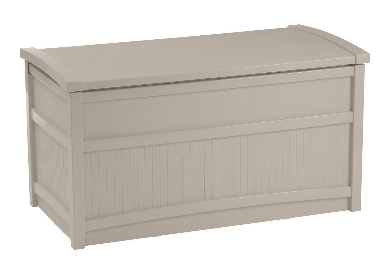 Patio Furniture Deck Box Premium Suncast Outdoor Storage Resin Waterproof Contemporary Weatherproof 50 Gallon Design
