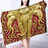PRUNUS 100% Cotton Super Absorbent Bath Towel Elephant Carved Gold Paint on Door Thai Temple Spirituality Statue Classic Image Magenta Fast Drying, Antibacterial