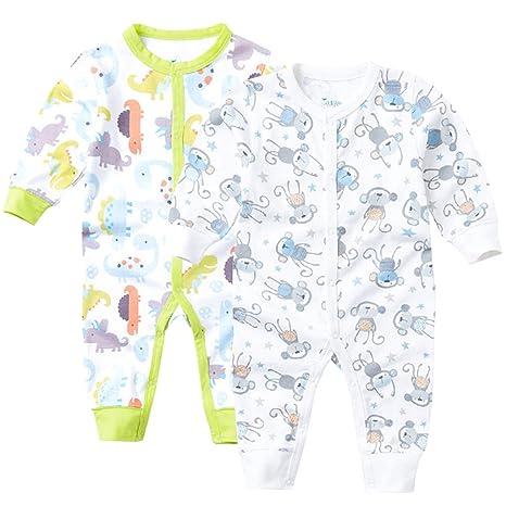 Pijama para Bebé Pack de 2 Niños Niñas Mameluco Manga Larga Pelele Mono Algodón Trajes 6