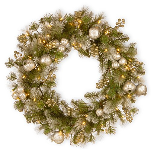 National Tree 30 Inch Glittery Pomegranate Pine Wreath with Silver Pomegranate, Champagne Berries, White Frosted Tips and 70 Battery Operated Warm White LED Lights with Timer (Gold Pine Wreaths)