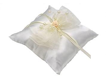 Bezauberndes Ringkissen weiß 20 x 20 cm  Hochzeit Tischdeko Trauringe
