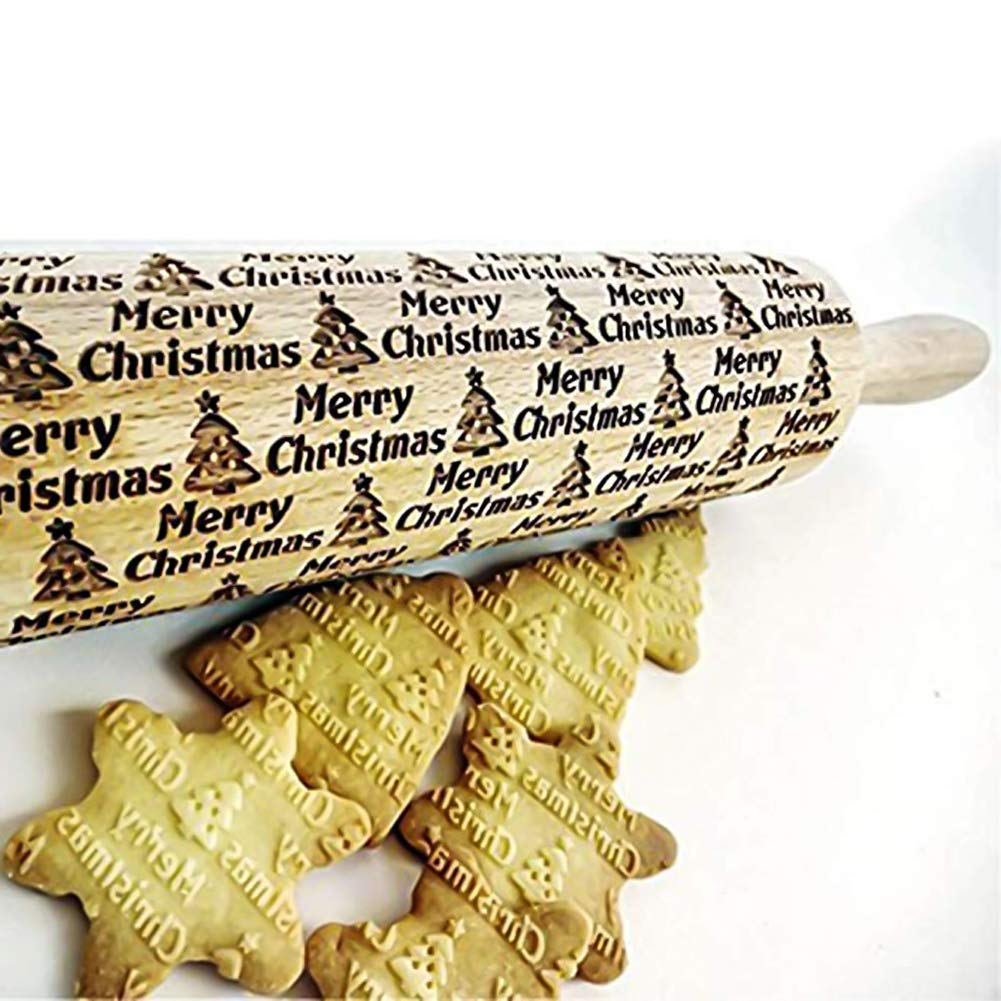 Asionper Christmas Wooden 3D Rolling Pins Embossed, Embossing Rolling Pin with Engraved Christmas Themed Symbols for Baking Embossed Cookies,Rolling Pin Kitchen Tool(17inABCD) by Asionper (Image #3)