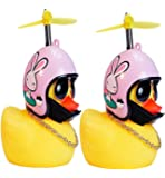 DYBADYSA 2 Pcs Rubber Duck Toy Car Ornaments Yellow Duck Car Dashboard Decorations with Take-Copter Helmet for Adults…