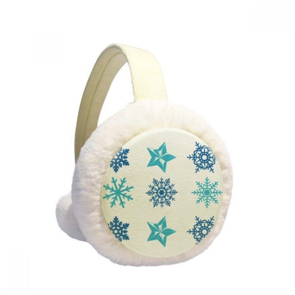 Circle Christmas Snowflake Illustration Winter Earmuffs Ear Warmers Faux Fur Foldable Plush Outdoor Gift