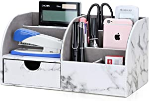 KINGFOM 7 Storage Compartments Multifunctional PU Leather Office Desktop Organizer, Stationery Storage Box Collection, Business Card/Pen/Pencil/Mobile Phone/Remote Control Holder (Gray Marble)