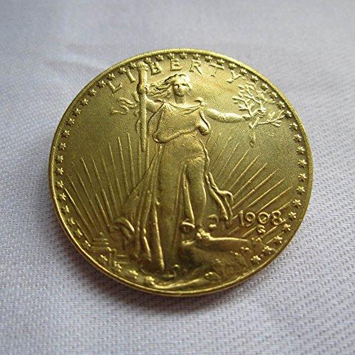Double Eagle Coin - 1908 USA $20 Gold-Plated Saint Gaudens Twenty Dollars or Double Eagle Coins COPY