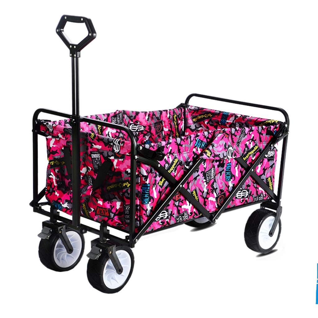 ショッピングカートトロリーガーデンカー折りたたみ輸送車両屋外釣り実用車 (色 : ピンク) B07RGVFF55 ピンク