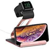 Apple Watch Stand, Mercase iWatch Night Mode Stand Phone Charging Station Charger Holder for Apple Watch Series 1/Series 2/Series 3 (42mm 38mm) iPhone Samsung and iPad, Tablet (Rose Gold)