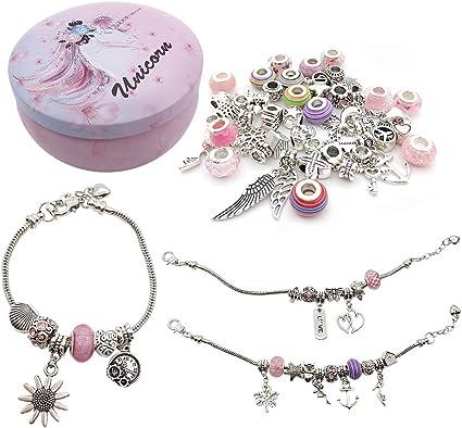 WOCRAFT DIY Pink European Bead Charm Bracelet Making Kit Jewelry Making Supplies Bead Snake Chain Jewelry Gift Set for Girls Teens M361