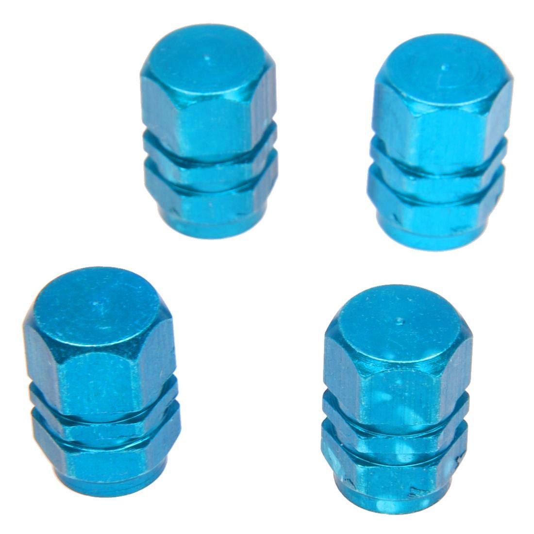 SODIAL 4X pneumatico della ruota Rims System Air protezioni della valvola del pneumatico della copertura di camion dellautomobile della bici di alluminio blu R