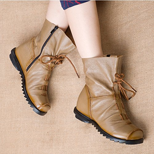 Casual Khaki Soft Clarsunny Leather Boots Flat Women's Genuine qt4xPwx8v
