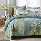 Miaote Vintage Handmade Patchwork 3 Pieces Quilt Set 100% Cotton Bedspreads King Size Floral Nature Style Green