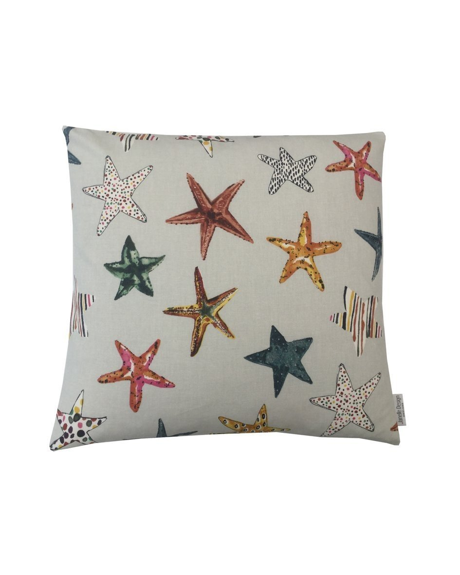 Beautiful Designer Beachcomber Seaside Collection Starfish in pebble Grey Mustard Burnt Orange Cushion cover pillow case Home, Kitchen, Sofa, Bedroom. (16' x 16') Bedroom. (16 x 16) Janelle Design LTD