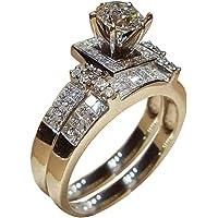 Haluoo Sterling Silver Bridal Set, Round Cubic Zirconia Cz Solitaire Engagement Wedding Band Sapphire Diamond 2 Piece…