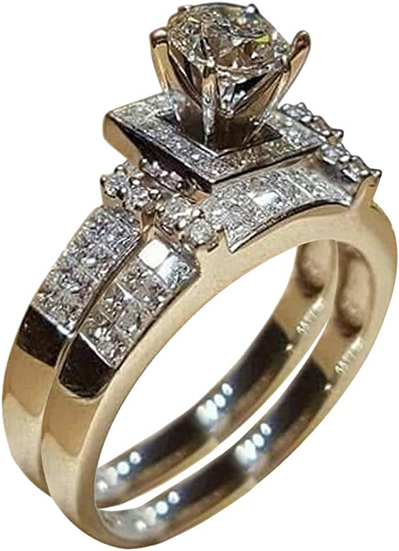 Womens Promise Rings Sterling Silver,CZYCO Superb Women Shiny White Sapphire Diamond Engagement Ring Elegant Stackable Brid