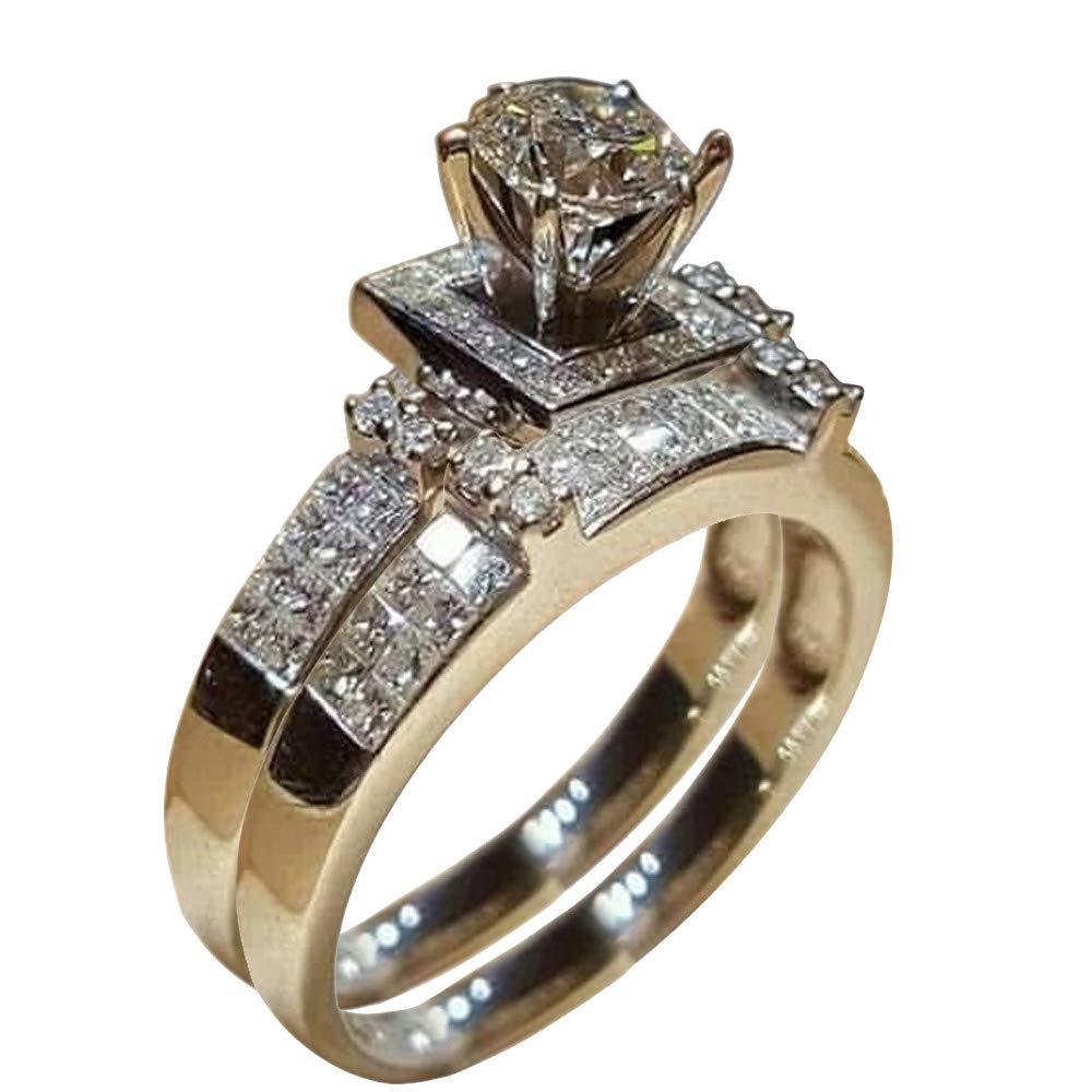 BNisBM 2019 New Ring,Women Shiny White Sapphire Diamond Engagement Ring Elegant 2pc Size 5-11