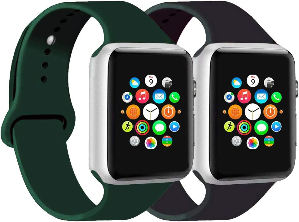CoJerk Compatible for Apple watch Band 38mm 40mm 42mm 44mm,Replacement Band for iWatch Series 5/4/3/2/1 (Midnight green+Black, 42mm/44mm-ml)