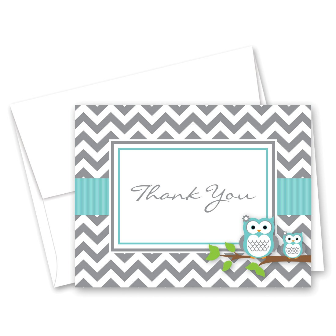 50 Cnt Grey Teal Chevron Owl Baby Thank You Cards