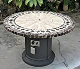 Gas Fireplace Fire Pit Outdoor, Marble Mosaic Inlay 48'' Table, Patio, Deck, Propane Line or Tank 50,000 BTU, Gray Base