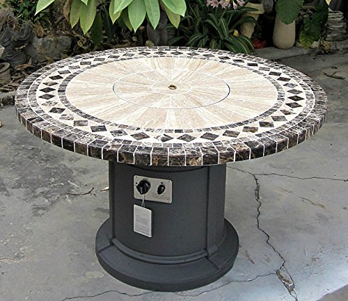 Gas Fireplace Fire Pit Outdoor, Marble Mosaic Inlay 48″ Table, Patio, Deck, Propane Line or Tank 50,000 BTU, Gray Base