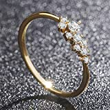 Simple 18k Gold Plated Rings for Teen Girls White