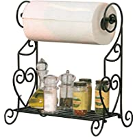 VANRA Spice Rack Kitchen Spice Stand Jars Storage Organizer with Tissue Dispenser Rack / Bathroom Paper Towel Holder & Towel Bar (Black)