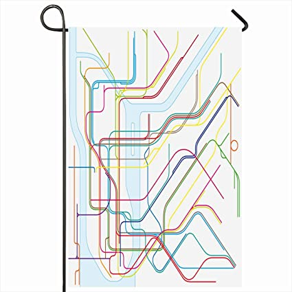 Creative Subway Map.Amazon Com Ahawoso Outdoor Garden Flags 12 X18 Inch Plan City