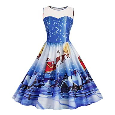 8b3f41fadf Image Unavailable. Image not available for. Colour  Brezeh Christmas  Women s Vintage Dress