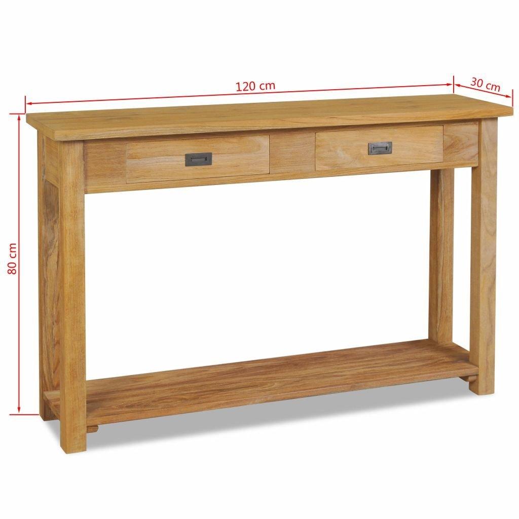 vidaXL Tavolo Consolle in Legno Teak 120x30x80 cm Tavola Tavolino da Salotto