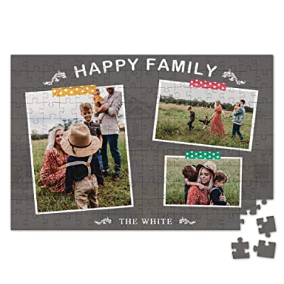 Custom Photo Jigsaw Puzzle for Adults 500 Pieces - Record Moments Personalized 3 Photos Engraved Funny Gifts Custom Puzzles from Photos for Kids Mother's Day Wedding Gift Family Friend: Toys & Games