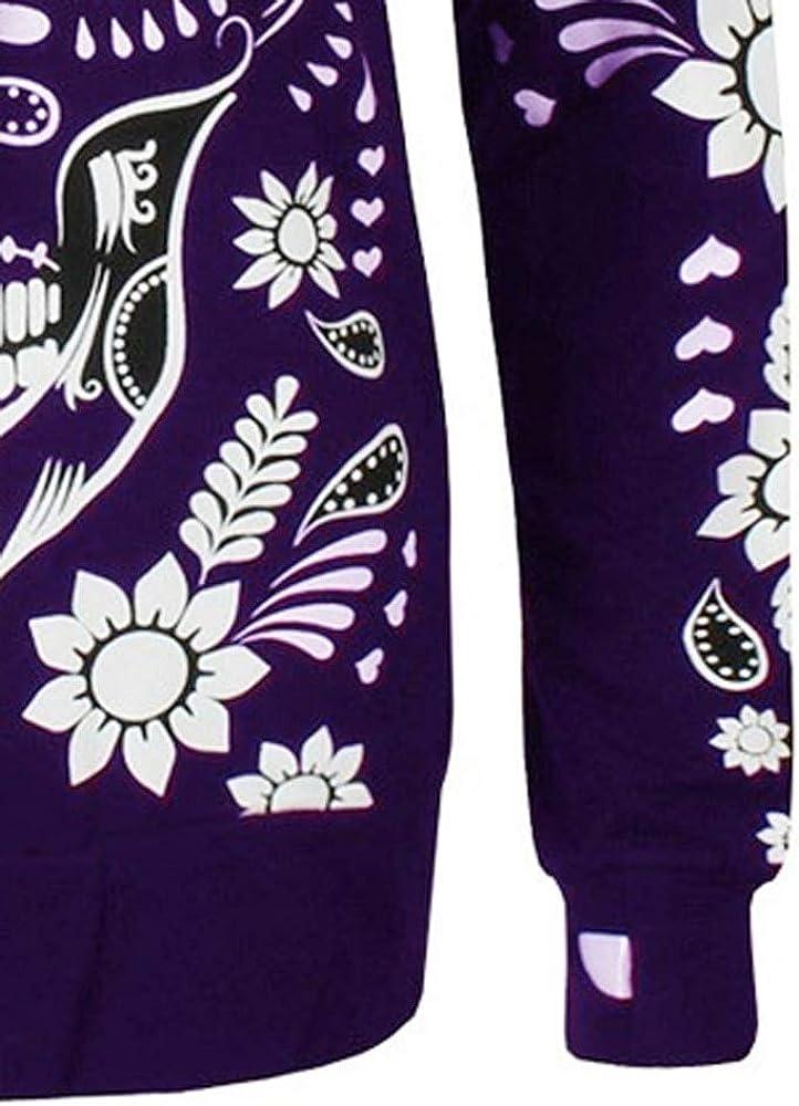Femme Halloween Sweat Shirt Hooded Sports Femme Automne Col Rond Veste en Sweat Chemise Capuche D/éContract/éE T-Shirts Les Os Imprim/é