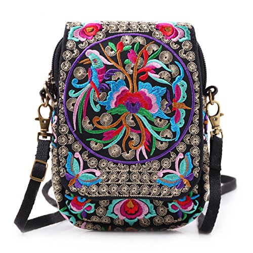 Embroidery Flowers Canvas Crossbody Bag, Women Messenger Bag, Cellphone Pouch Purse