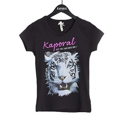 3ee4d6a53c5c4 Kaporal - Tee Shirt Noir Manches Courtes Logo Tigre - Fille - 8 Ans ...