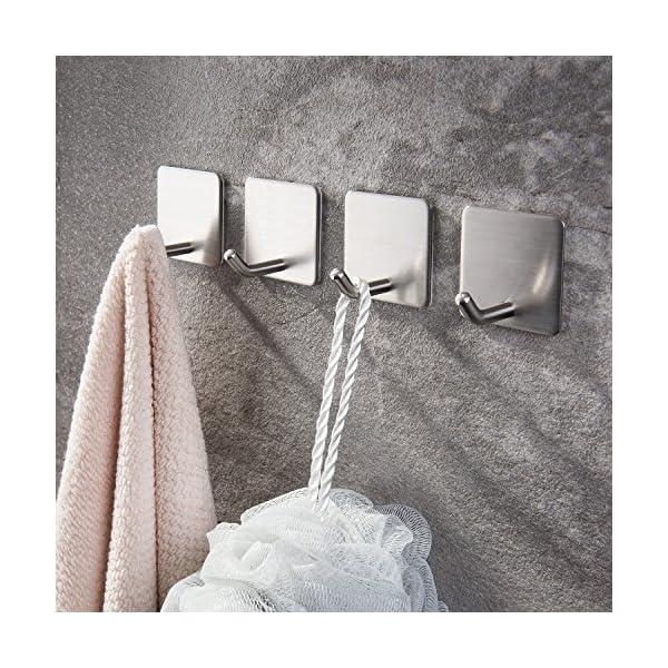 61bKiwiIjbL Haken Selbstklebende Handtuchhaken ohne Bohren Wandhaken 4 Stk Klebehaken Edelstahl für Küche und Bad, von Ruicer