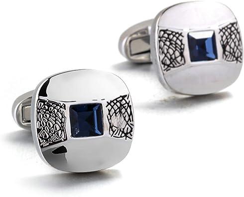 Aeici Gemelos Acero Inoxidable Gemelos para Camisa de Hombre Cuadrado Circonita Gemelo Camisa para Hombre Plata Azul: Amazon.es: Joyería