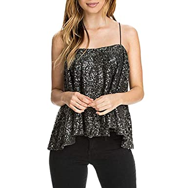 diandianshop Womens Vest Sleeveless Sparkly Sequin Spaghetti Strap Party  Club Top T-Shirts Black  Amazon.in  Clothing   Accessories 35455c3b792
